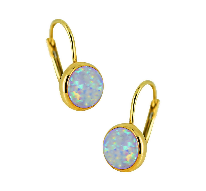 Blau Feuer Opal Kugel Form Ohrhänger Brisuren Ohrringe 14K Gelbgold 7mm